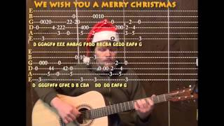 We Wish You A Merry Christmas - Solo Guitar Cover Lesson with TAB Arrangement