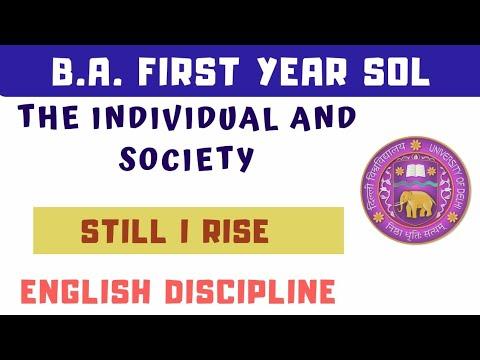 B.A FIRST YEAR ENGLISH -STILL I RISE POEM HINDI SUMMARY SOL/DU   STILL I RISE BY MAYA ANGELOU