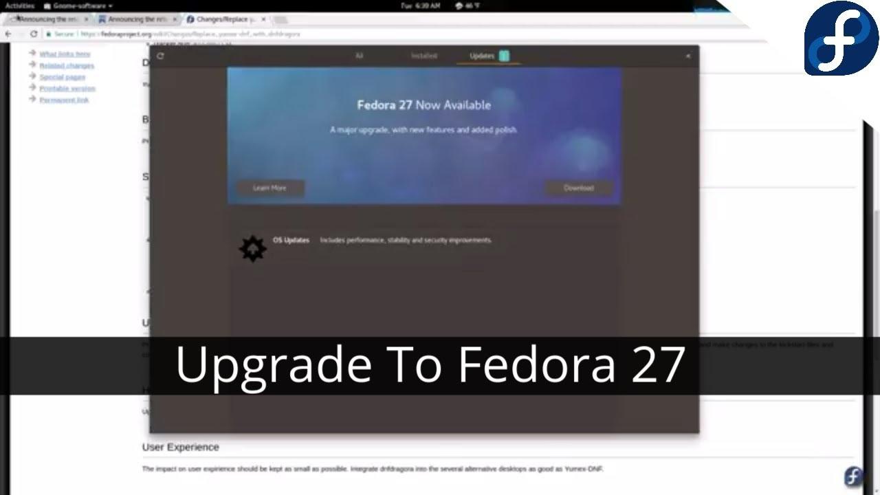 Upgrading From Fedora 26 to Fedora 27
