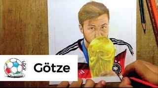 Dibujo de Mario Götze con La Copa del Mundo después de anotar el gol del triunfo vs Argentina.