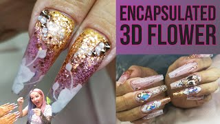 Blingy Vacation Nails - Encapsulated 3D Flower