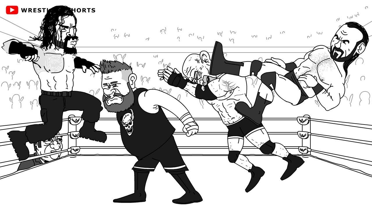 WWE Royal Rumble Cartoon: Roman Reigns vs Kevin Owens & Bill Goldberg vs Drew McIntyre