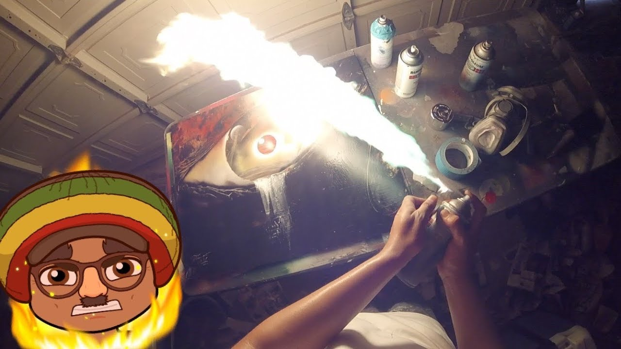 Spray Paint Art - LIVE Tutorial- How to do the Fire ...