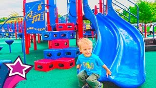 Repeat youtube video Amazing Kids Playground Fun Giant Slides Swings Playtime in Real Life Children Playing Family