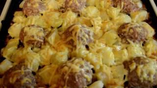 Мясные Ежики с картошкой под сыром\ Hedgehogs meat with potatoes and cheese