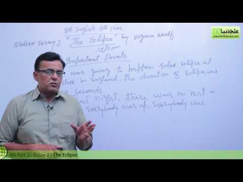 BA English Modern Essay no 2 The Eclipse BA Part 2 Punjab University