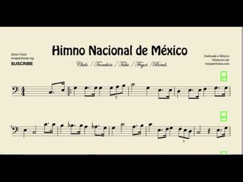 Mexico National Anthem Sheet Music for Cello Bassoon Trombone Tube and Euphonium in F key
