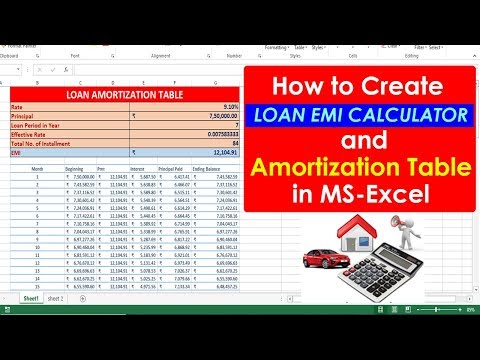 [Hindi] How To Create Loan EMI Calculator With Amortization Table In Ms Excel