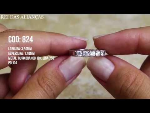 53cfe802ac303 Meia Aliança Em Ouro Branco 5 Diamantes de 10 Pontos Cód. 824 - Rei das  Alianças