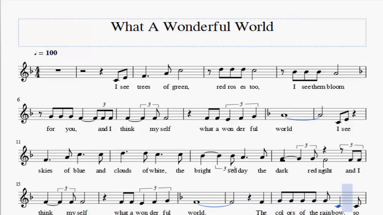 What A Wonderful World Flute Sheet Music Youtube