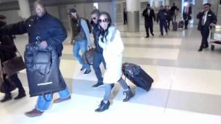 Brandy  Ray J  & mom Sonja Norwood arriving at JFK airport