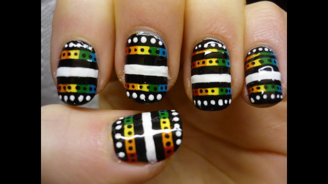 Rainbow Tribal Nail Art Tutorial - YouTube