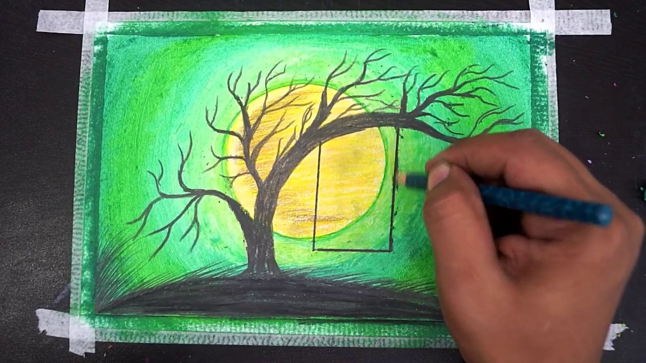 Beautiful Oil Pastel Painting Landscape Drawing With Very Easy Youtube