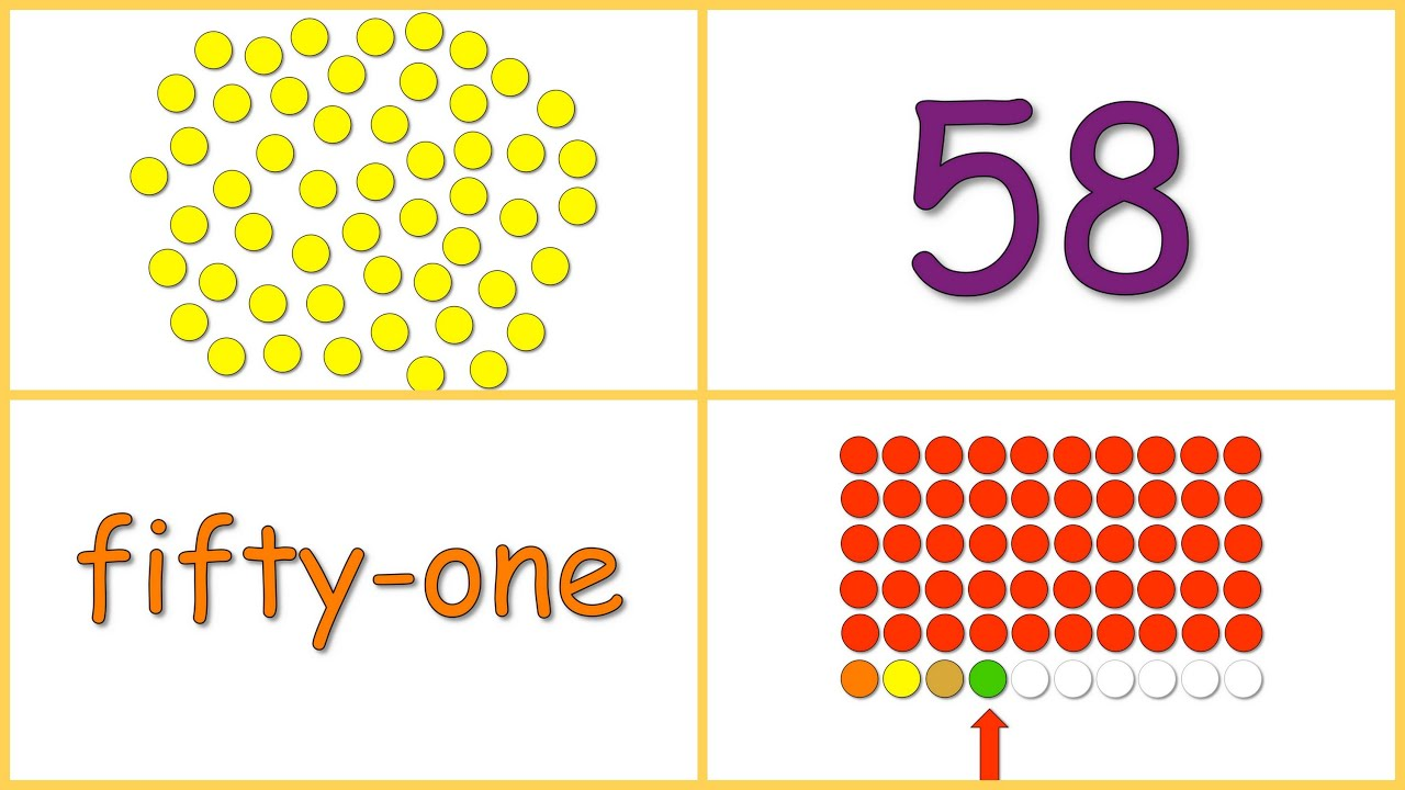 Baby Math Numbers 50 60 Dots Numerals Words Rows