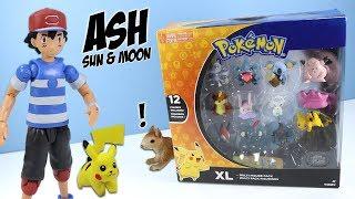 Pokémon Ash & Pikachu, and XL Multi Figure Pack 2018 Tomy Toys. Squ...