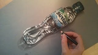 Realistic water bottle speed drawing