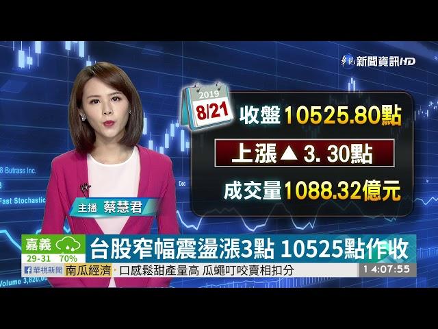 台股窄幅震盪漲3點 10525點作收 | 華視新聞 20190821