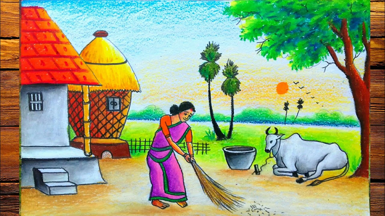 Village Scenery Drawing Morning Cow With Pastel Color Painting Youtube Hellow friends this is a another beautiful drawing of a village scenery in the morning ,there is a village woman was swiping nearby. village scenery drawing morning cow with pastel color painting