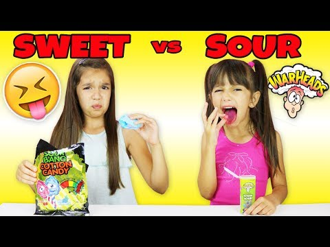 SWEET vs SOUR CANDY CHALLENGE - Which one is the Sourest Candy? Extreme Sour Warheads Kids vs Food