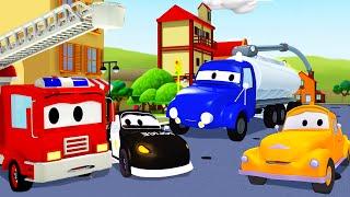 La Super Patrulla: camión de bomberos y patrulla de policía, y el Camión Cisterna en Auto City