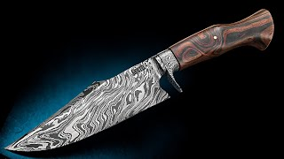 Knife making - Integral Damascus knife with a guard