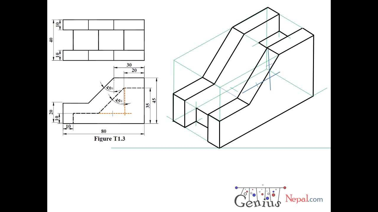 Engineering Drawing Tutorials/Isometric drawing with front