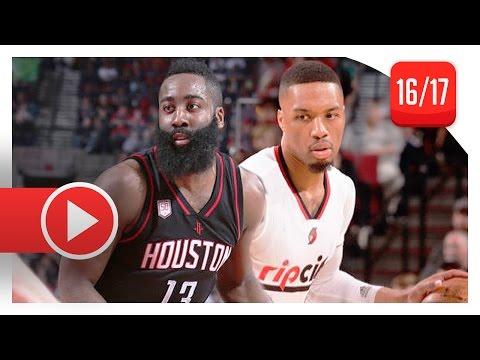 James Harden vs Damian Lillard Duel Highlights (2017.03.30) Blazers vs Rockets - TOO GOOD!