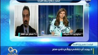 90 دقيقة - وزارة الصحة  حالة وفاة بسبب ارتفاع درجات الحرارة ولا يوجد اى تفشي وبائي فى مصر