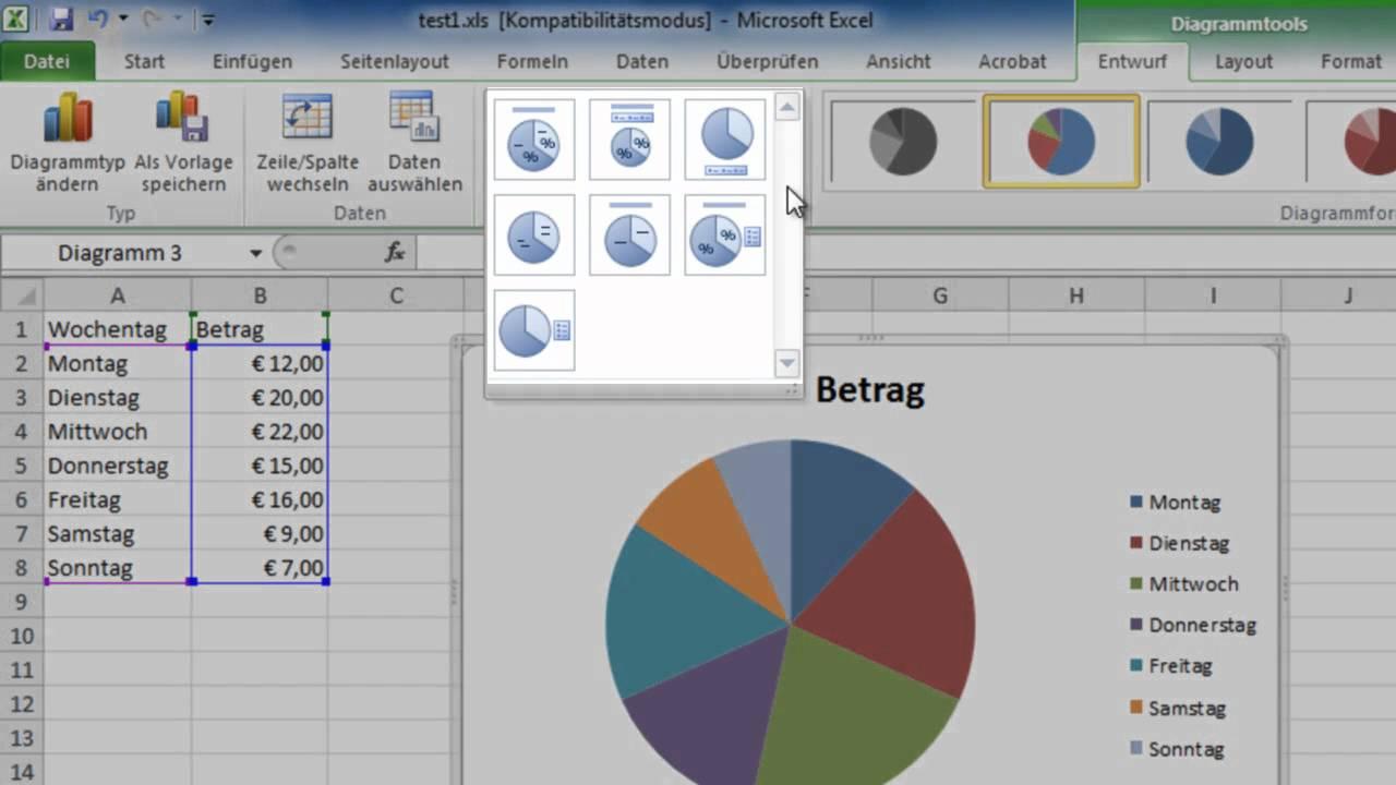 Excel 2010 - Segmente in Kreisdiagrammen hervorheben - YouTube