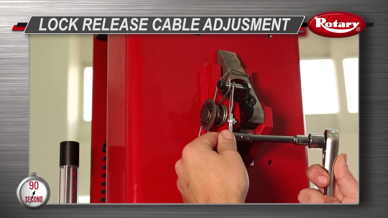 Rotary 2 post lift lock release cable