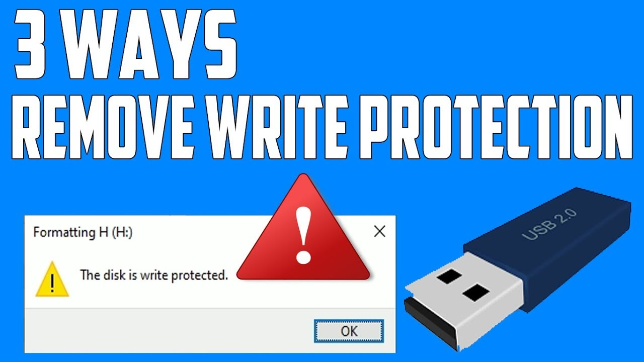 "3 Ways Remove Write Protection From USB Pendrive | ""The disk is write protected"" [Fix]"
