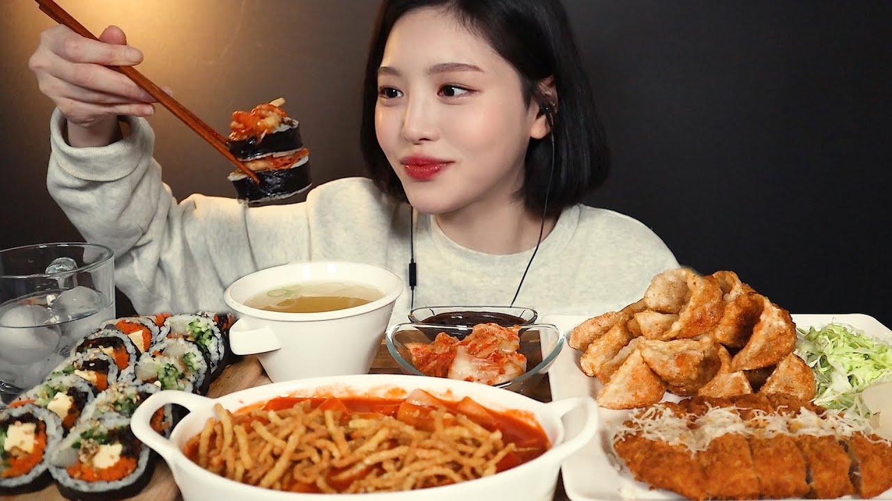 SUB[광고]바르다김선생 겉바속촉 제육튀김만두 가락떡볶이 치즈돈까스 김밥까지 분식파티 리얼사운드 먹방 Tteokbokki dumpling gimbap mukbang ASMR