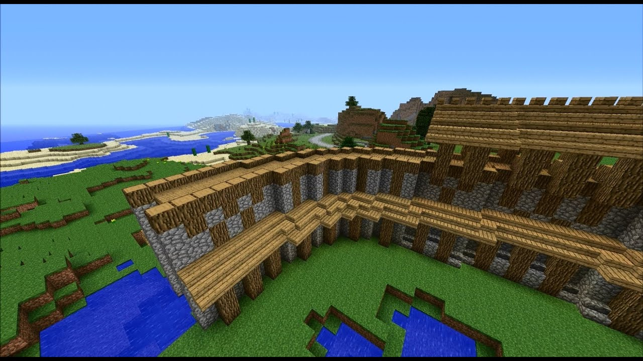Minecraft Tutorial: How to build medieval city walls (Part ...