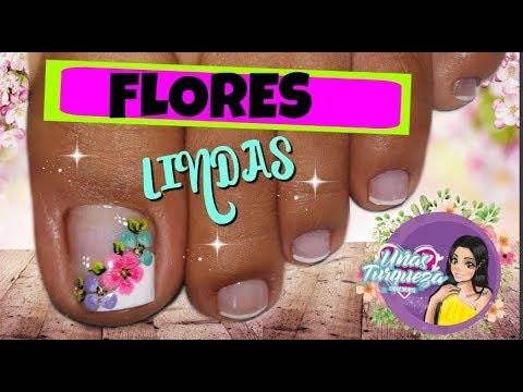 Decoracion Unas Flores Unas Turqueza Decoracion Unas Pies Youtube