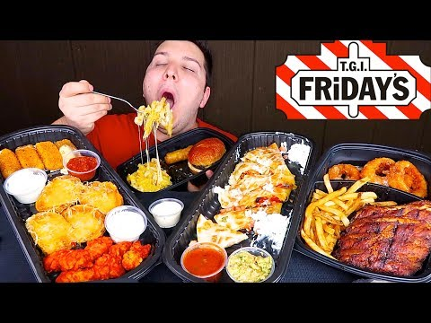 BBQ Ribs, Onion Rings, Spicy Wings, Mozz Sticks, Cheese Quesadilla • TGI Friday's • MUKBANG