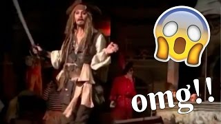 JOHNNY DEPP ON PIRATES OF THE CARIBBEAN RIDE AT DISNEYLAND! 😱  Live Footage!
