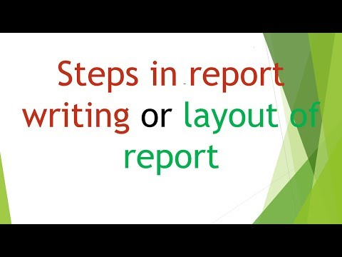 Steps In Report Writing Or Layout Of Report