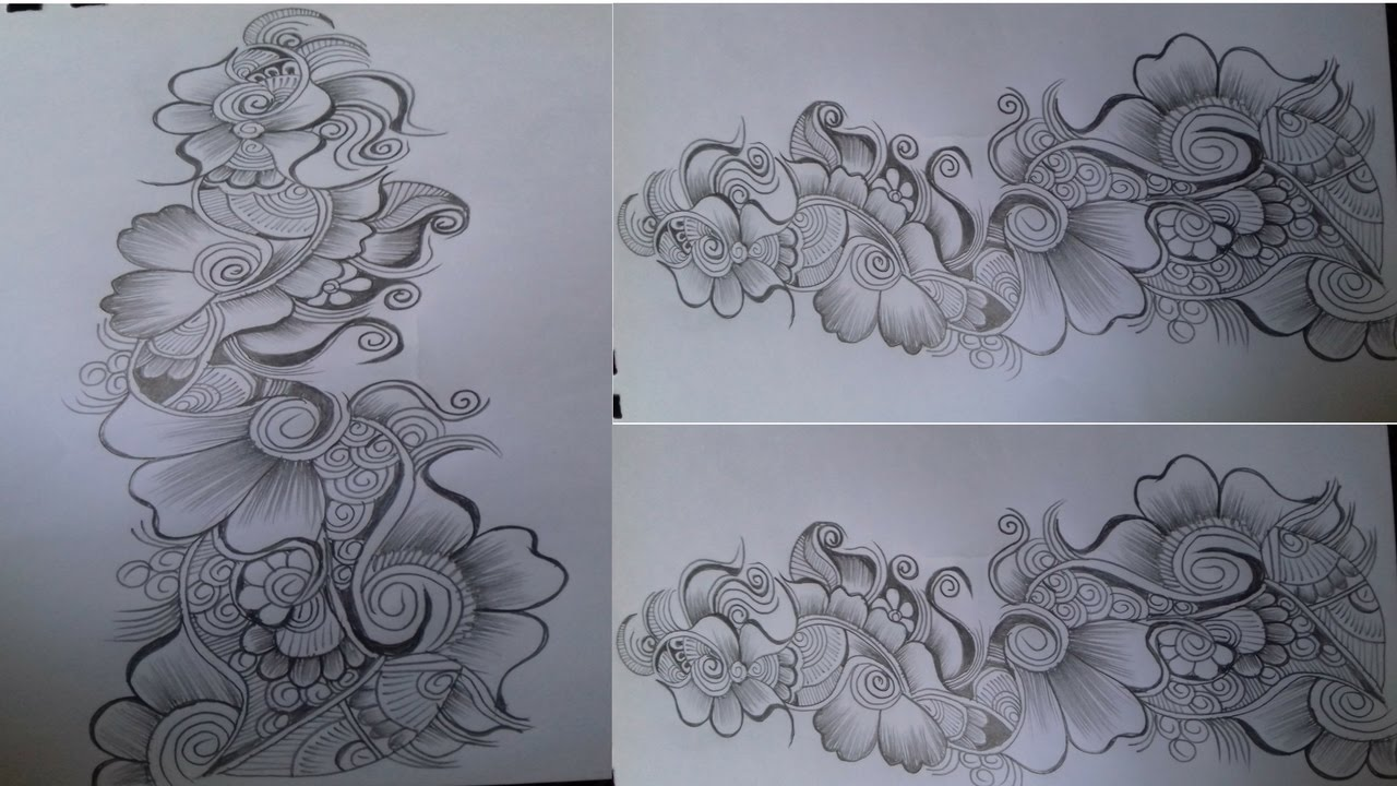 Beautiful Flower Mehndi Design With Pencil On Paper Mehndi