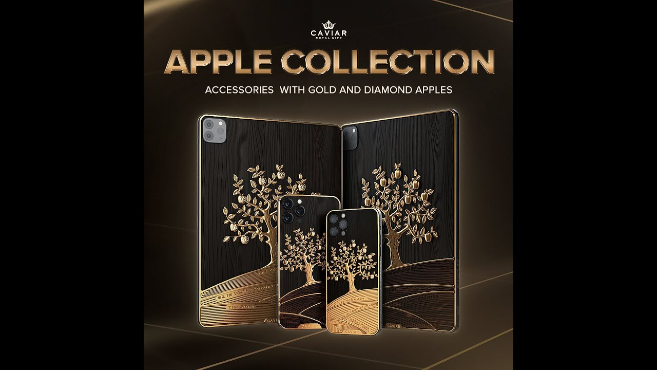 New collection of Apple made from apple tree wood and decorated with gold and diamond apples