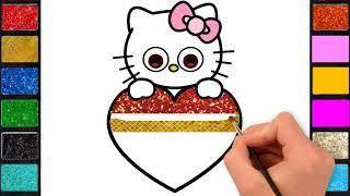 رسم وتلوين كيتى للاطفال / لعب ومرح مع كيتى/ drawing & coloring page for kids