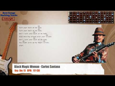 Black Magic Woman - Carlos Santana Guitar Backing Track with chords and lyrics