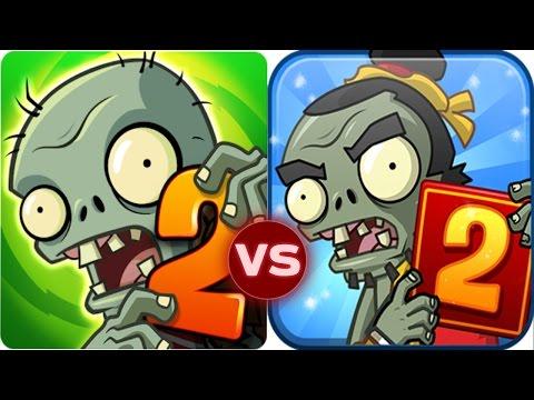 Plants Vs Zombies 2 vs Plants vs Zombies 2 China Version Zomboss Battle!
