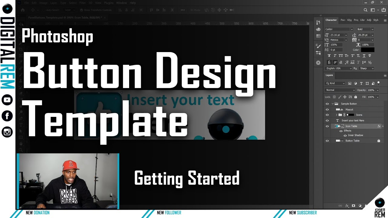 Understanding the Button Design Template | Photoshop