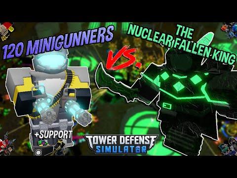 120 MINIGUNNERS VS. THE NUCLEAR FALLEN KING!! Tower Defense Simulator - ROBLOX