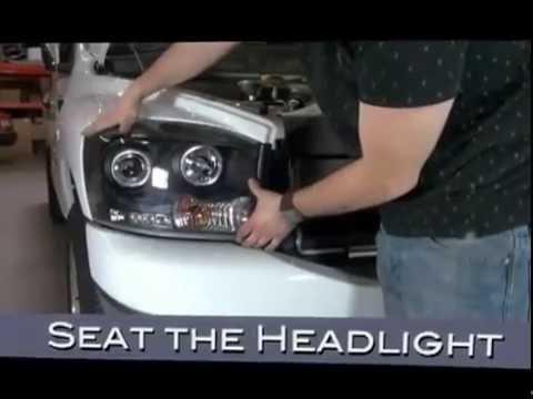 2006 2009 Dodge Ram 1500 2500 3500 Headlights Spyder Auto Installation Ccfl Led Halo Projector Youtube