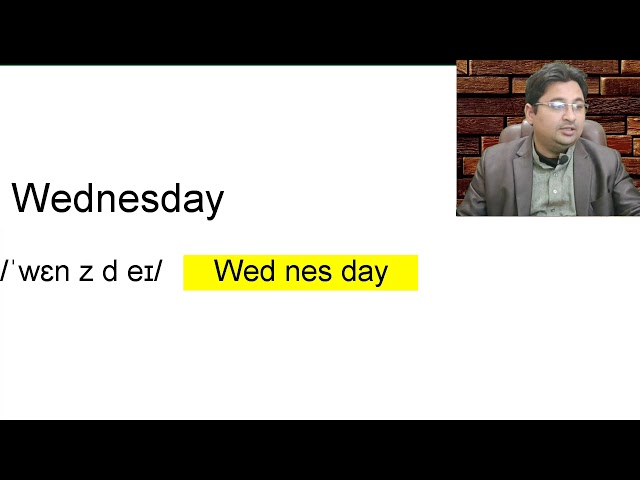 Wednesday pronunciation in Urdu Hindi