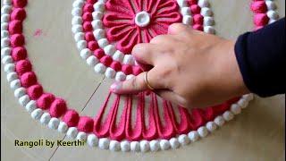 Beautiful pink & white navratri rangoli designs l diwali rangoli using 2 colours l रंगोली रचना
