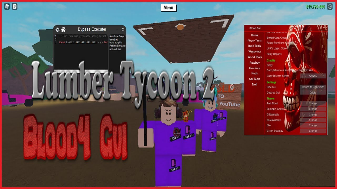 Lumber Tycoon 2 Blood Gui FLY TELEPORT NOCLIP CAR FLY INFINITE JUMP MONEY AXE AND ITEM DUPLICATION