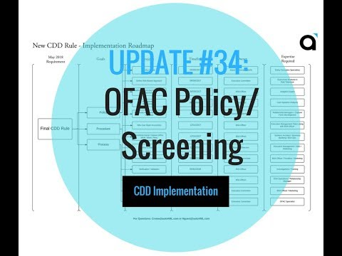 CDD Implementation: Update # 34 - OFAC Policy / Screening