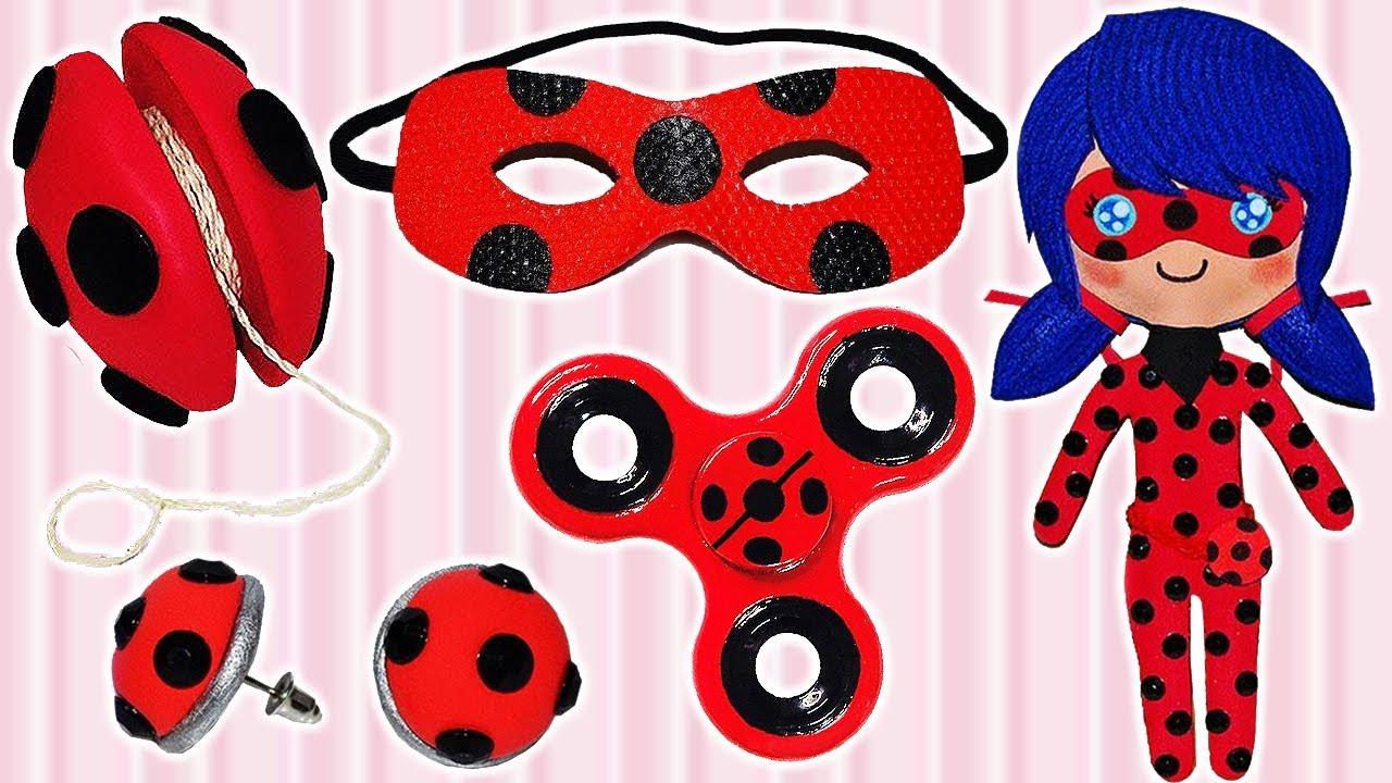 5 Diys Of Miraculous Ladybug Mask Yo Yo Fidget Spinner Earrings